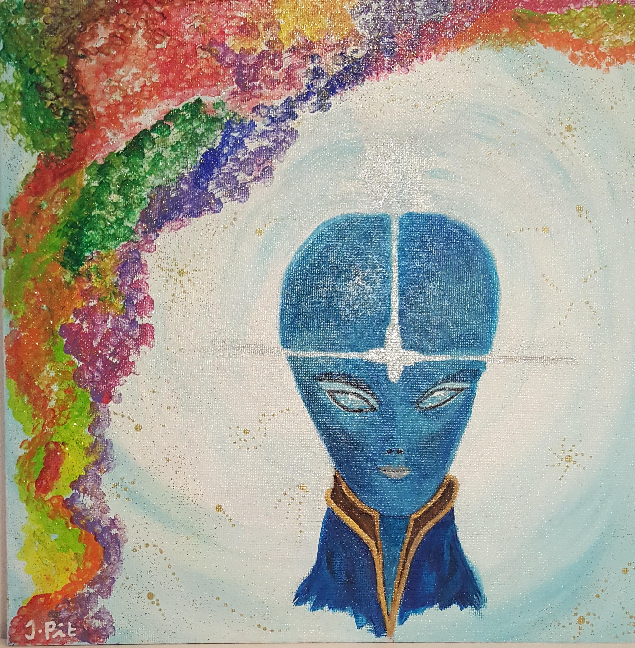 Arcturian Galactic Dance (30x30 cm canvasboard)